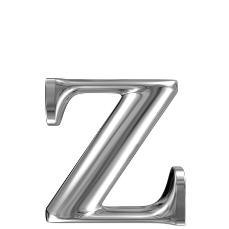 Metal lowercase Letter Z from chrome solid alphabet  photo