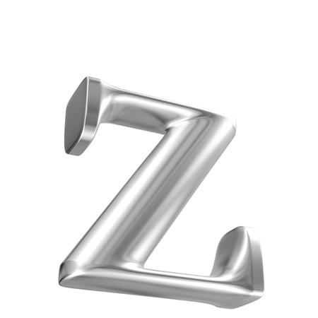 inox: Aluminium font lorewcase letter z in perspective, bootom view