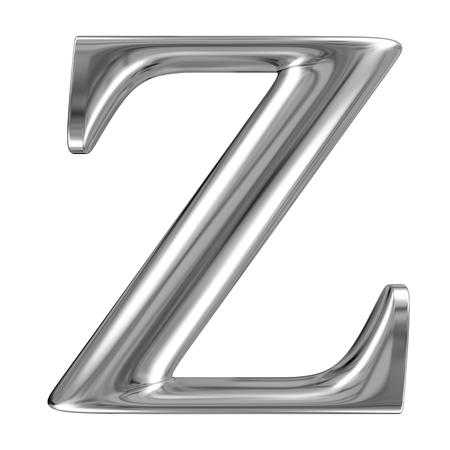 chromium: Metal Letter Z from chrome solid alphabet. Stock Photo