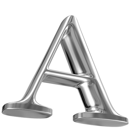 volumetric: Metal Letter A from chrome solid alphabet. Stock Photo