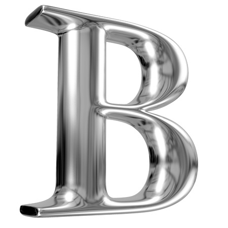 letter box: Metal Letter B from chrome solid alphabet. Stock Photo