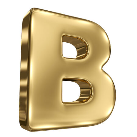 Letter B from gold solid alphabet Stock Photo