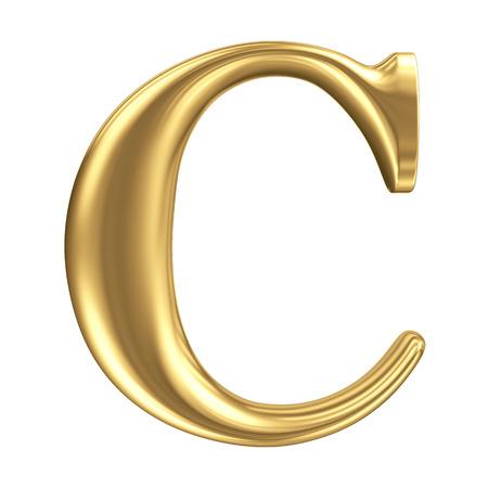 Golden mat letter C, juwelen fontcollectie