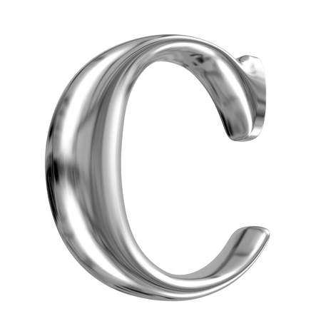 Metal Letter C from chrome solid alphabet. photo