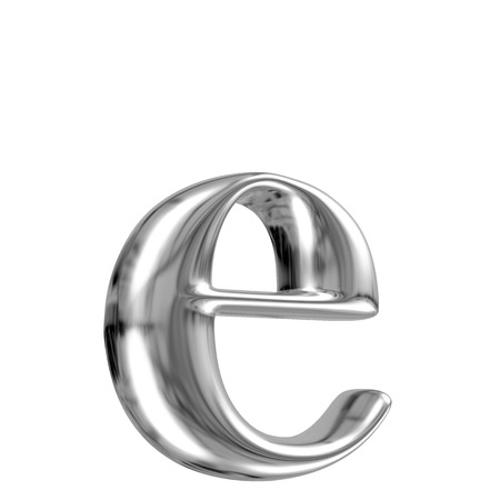 chrome letters: Metal lowercase letter e from chrome solid alphabet