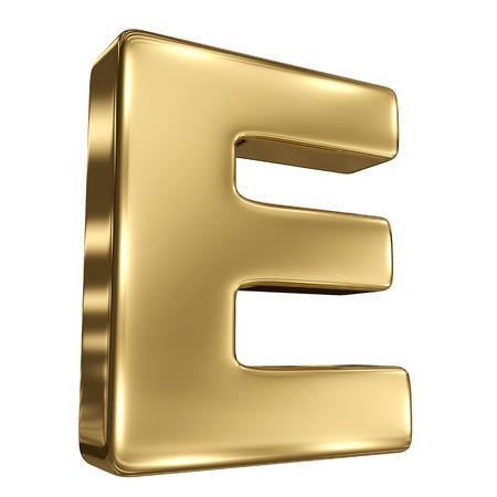 Letter E from gold solid alphabet