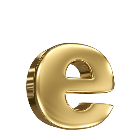 Letter e from gold solid alphabet photo
