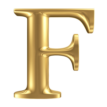 Golden matt letter F, jewellery font collection Stock Photo