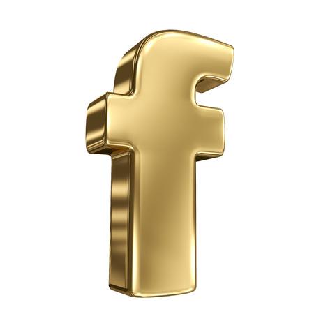 goldbars: Letter f from gold solid alphabet