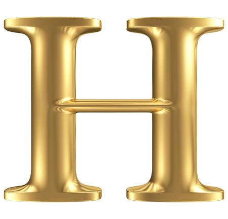 黄金マット文字 H、ジュエリー フォント コレクション