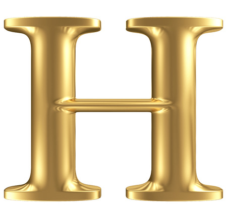 Golden matt letter H, jewellery font collection photo