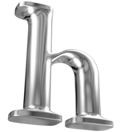fonts 3d: Metal lowercase letter h from chrome solid alphabet Stock Photo
