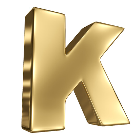 Letter K from gold solid alphabet photo