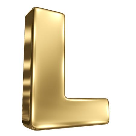 letter l: Letter L from gold solid alphabet