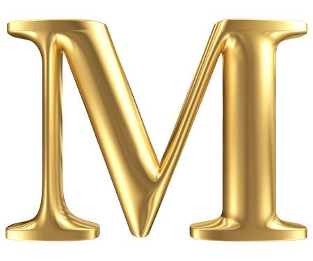 Golden matt letter M, jewellery font collection photo