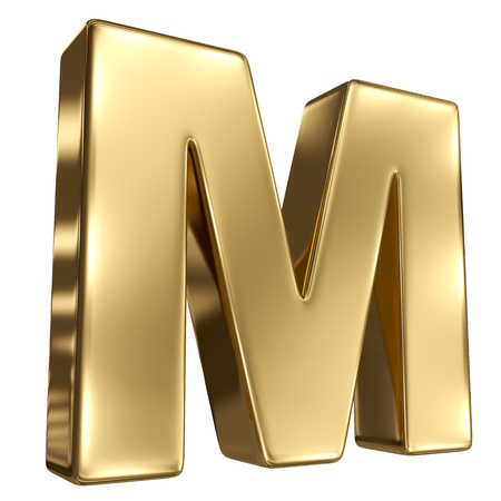 metal letter: Letter M from gold solid alphabet