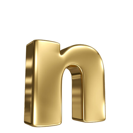 letter n: Letter n from gold solid alphabet Stock Photo