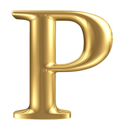 Golden matt letter P, jewellery font collection