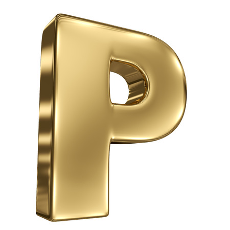 Letter P from gold solid alphabet photo