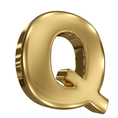 Letter Q from gold solid alphabet photo