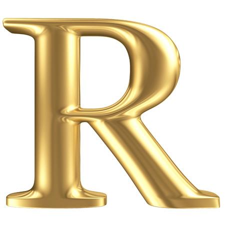Golden matt letter R, jewellery font collection photo