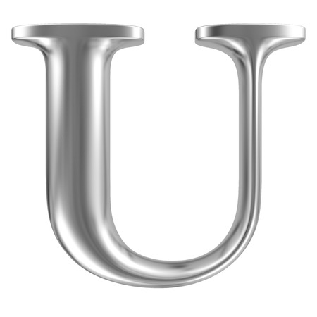 Aluminium font letter U Stock Photo