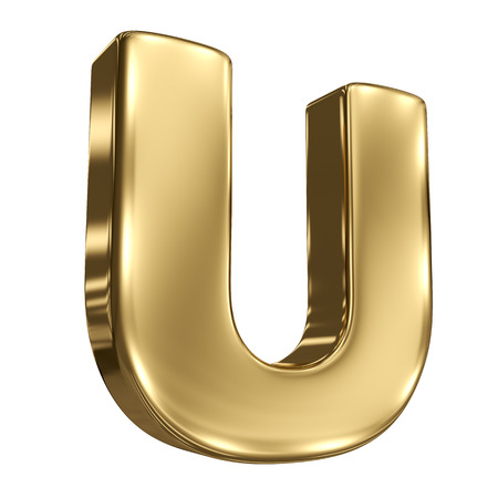 Letter U from gold solid alphabet photo