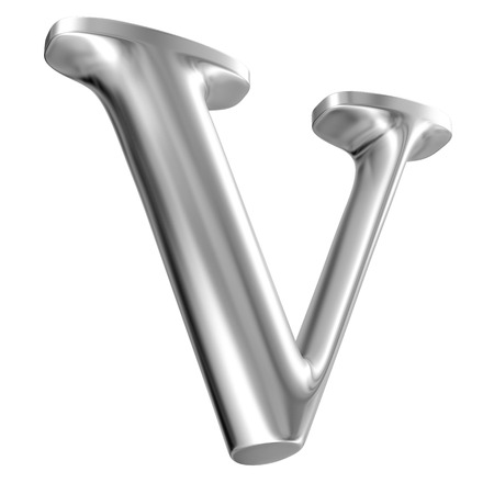 Aluminium font letter V in perspective, bootom view Stock Photo