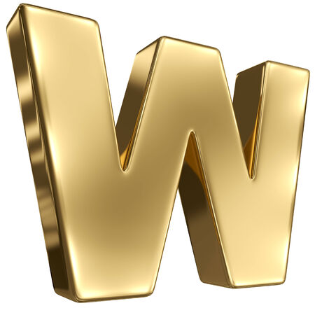 goldbars: Letter W from gold solid alphabet