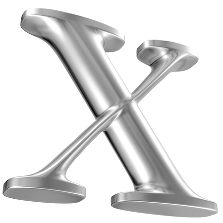Aluminium font letter X in perspective, bootom view Stock Photo