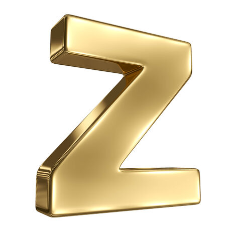 Letter Z from gold solid alphabet Stock Photo