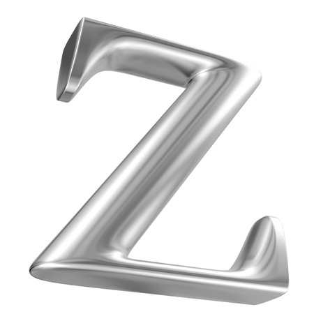 inox: Aluminium font letter Z in perspective, bootom view