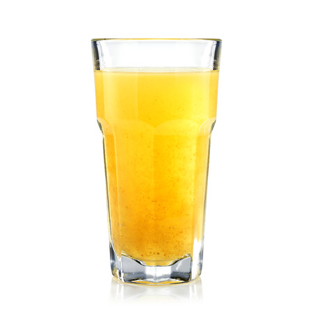 tall glass: Tropic fruits fresh and healthy juice in a tall glass isolated on white. Bar concept.