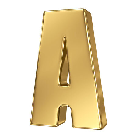 gold standard: Letter A from gold solid alphabet
