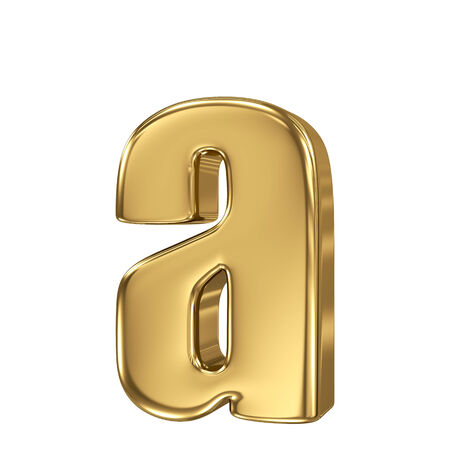 Letter a from gold solid alphabet. Lowercase Stock Photo