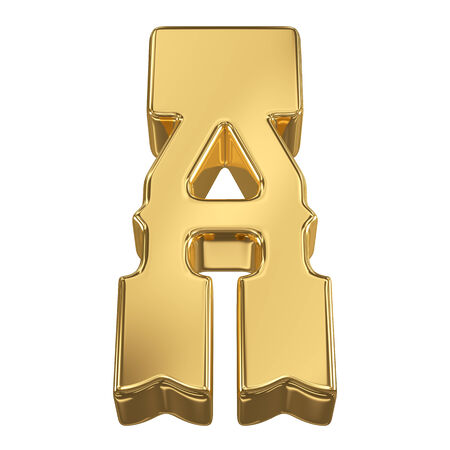 bank western: Letter A from gold solid alphabet, tilt 30 degrees, render Stock Photo