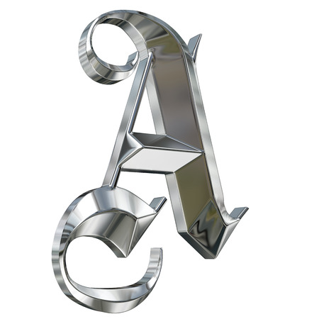 gothic style: Metallic patterned letter of german gothic alphabet font. Letter A