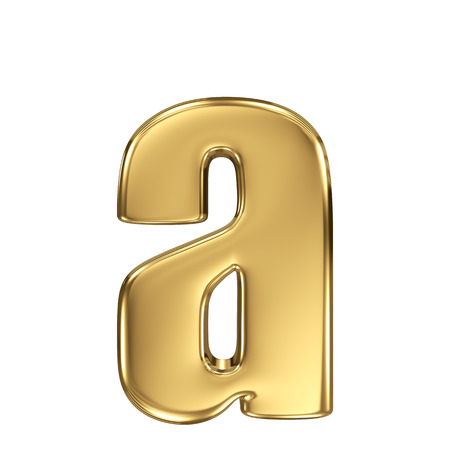 gold standard: Letter a from gold solid alphabet. Lowercase Stock Photo