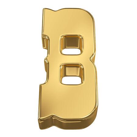 goldbars: Letter B from gold solid alphabet, tilt 30 degrees, render