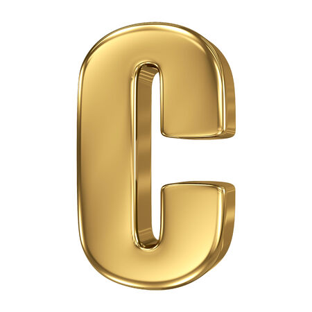 goldbars: Letter C from gold solid alphabet Stock Photo