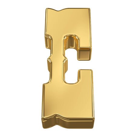 goldbars: Letter C from gold solid alphabet, tilt 30 degrees, render