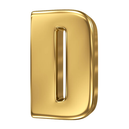 extruded: Letter D from gold solid alphabet