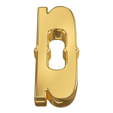 goldbars: Letter D from gold solid alphabet, tilt 30 degrees, render