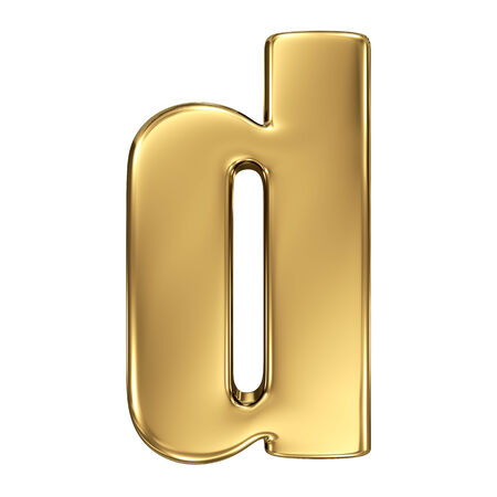 goldbars: Letter d from gold solid alphabet. Lowercase Stock Photo