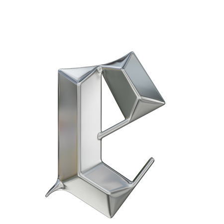 blue metallic background: Metallic patterned letter of german gothic alphabet font. Letter e Stock Photo