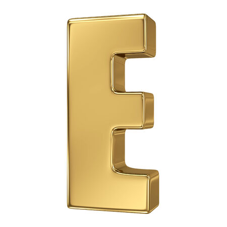 gold standard: Letter E from gold solid alphabet