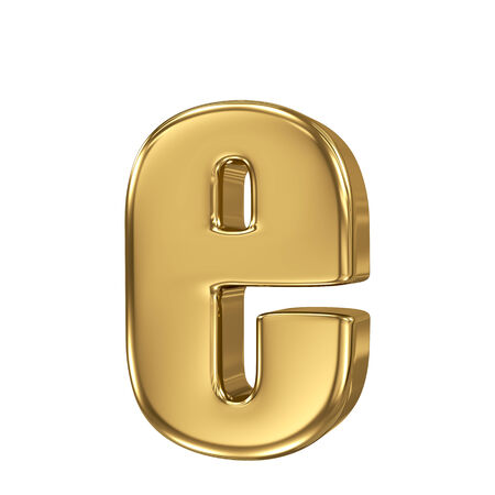 Letter e from gold solid alphabet. Lowercase photo