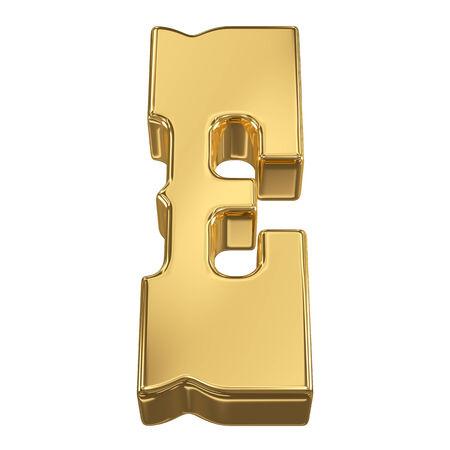 gold rush: Letter E from gold solid alphabet, tilt 30 degrees, render