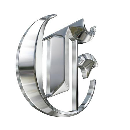 Motifs métalliques lettre de l'alphabet allemand gothique police. Lettre E Banque d'images - 27207526