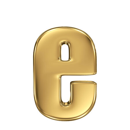 gold standard: Letter e from gold solid alphabet. Lowercase